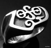 MJG STERLING SILVER ZOSO RING. JIMMY PAGE. LED ZEPPELIN. SIZE 10 1/2
