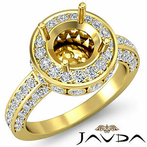 Diamond Engagement Designer Filigree Ring 18k Yellow Gold Round Semi Mount 0.7Ct