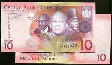 Lesotho note, P new, (2010), 10 MALOTI, UNC