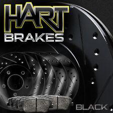 [FRONT+REAR KIT] Black Hart *DRILLED & SLOTTED* Brake Rotors +Ceramic Pads C1476