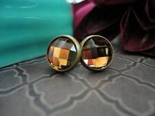 Faceted Post Earrings, Amber, Glass, Jewel Cabochon, 10mm Stud