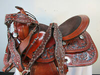 15 16 17 TRAIL SADDLE USED WESTERN PLEASURE HORSE TACK FLORAL TOOLED LEATHER SET