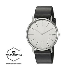 Skagen Signature Slim Titanium and Black Leather Watch SKW6419