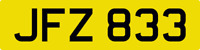 DATELESS PRIVATE NUMBER PLATE JFZ 833 CHERISHED REG COVER NON DATING CHEAP JF