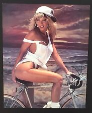 Woman in Sexy White Bikini on Bike T & A Vintage Poster / Print 20 x 16