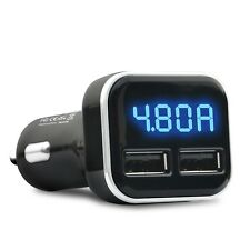 Dual USB Car Charger 4.8A Adapter LED Display Fast Charging For iPhone Samsung