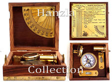 Polished Brass Marine Master Box & Nautical Compass Telescope Magnifying Glass