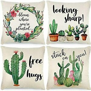 CDWERD Fall Summer Pillow Covers 18x18 Inches Cactus Decorations Watercolor
