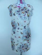 Neues Damen Chiffon Minikleid Mit Schmetterling Druck Gr L Creme NEU/OVP