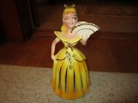 Vintage 1950's Kreiss Yellow Porcelain Napkin/Candle Holder Doll!!!