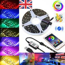 1-5M 5V USB LED Strip Lights 5050 RGB TV Backlight Bluetooth APP Remote Music UK