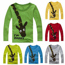 Kids Boys Girls Giraffe Long Sleeve T Shirt Tops Casual Pullover Clothing 2-8Y