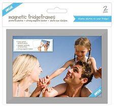 "Pack of 2 Shot2go Magnetic Photo Fridge Frame Pockets Silver 5x7"" 0371 1"