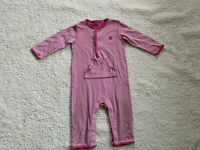 Girls Baby Gap Size 6-12 Months Pink White Stripe Pajamas Super Soft And Comfy