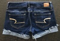 American Eagle Cut off Low Rise Cuffed Denim blue Jean Shorts size 4