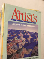 Lot of 35 THE ARTIST'S MAGAZINE painting art watercolor acrylic, years 1990-1995