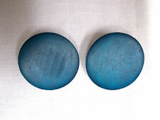 NEW RICH TEAL BLUE REAL WOOD ROUND BUTTON SHAPE STUD POST PIERCED EARRINGS