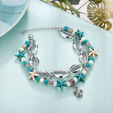 Boho Summer Starfish Shell Turtle Barefoot Chains Anklet Bracelets Jewelry Set