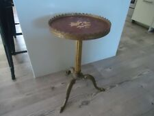 vintage brass round side table marquetry inlay italian style