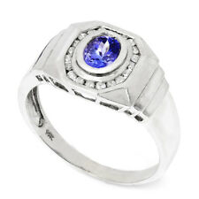 Men's Tanzanite Ring with Diamonds 14K White Gold 1.60ctw Bezel Set