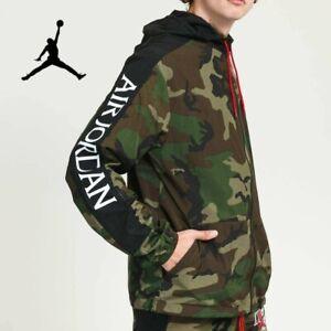 Air Jordan Jumpman Classic Men's Hooded Windbreaker Jacket Green Camo Large