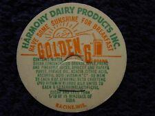 Rare HARMONY DAIRY PRODUCTS Racine,WI GOLDEN 6 NOS Bottle Cap ~ Milk Fruit Juice