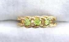 10Kt REAL Yellow Gold 3.5mm Arizona Peridot Ladies Gemstone Gem Stone Rope Ring