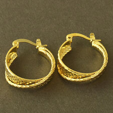 Fashion jewelry Yellow Gold Plated Embossed Womens Round clip on Hoop Earrings