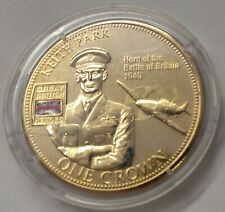 Great British Military Hero Keith Park One Crown Coin Gold Plated 2010 TDC