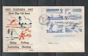 Can 365-368 - 1957 5c Recreation Sports - LL CB FDC By H&E