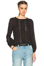 "NWT ISABEL MARANT ETOILE ""Mayra"" Lace Trim  Blouse SZ 36 Black Plisse Cotton"