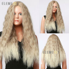 Long Curly Ombre Blonde Synthetic Hair Wigs for Women Heat Resistant SEE VIDEO