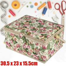 More details for rectangle large needle thread sewing basket tool household storage box w/ handle