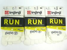 Injinji Men's Run Socks XL LOT OF 3 White No-Show Lightweight Perf 2.0 CoolMax