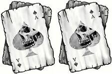 Distressed ACE OF SPADES Skull Side Playing Cards Biker vinyl Helmet Car sticker