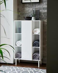 White Gloss 1 Door 6 Shelves Bathroom Furniture Storage Unit Organiser Cabinet