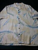 Tommy Bahama Mens Hawaiian Shirt Sz L Yellow Gold Floral 100% Silk Short Sleeve