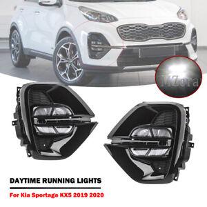 LED DRL For Kia Sportage KX5 2019 2020 Daytime Running Lamps Fog Light Cover SET