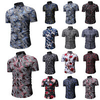 Men's Short Sleeve V Neck Slim Fit Floral Print T-Shirt Beach Casual Shirts Tops