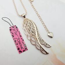 Hot Betsey Johnson Crystal Angel wings Pendant Long Chain Sweater Necklace