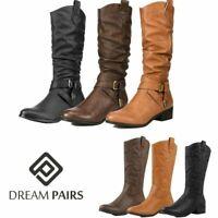 DREAM PAIRS Women's Slouch Low Heel Side Zipper Winter Mid Calf Boots