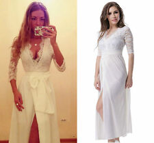 Celeb Ladies Sexy Long Lace Formal Ball Cocktail Prom Evening Party Dress White