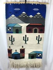 "VTG Wool Woven Weaving Southwest Wall Hanging Cactus Desert Village 29"" x 51"""