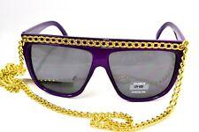Essential Fashion Lady Gaga Retro 80's Fashion Beach Sunglasses Chain UV400 Purp