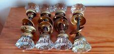 4 sets Antique Glass & brass Handle Door Knobs W/ Door Shaft! 4 sets
