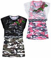 Girls 2 Pieces Top Camo Vest Top + Mesh Crop Top Summer T-shirt Ages 3-10 Years