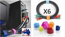 1 Pack of 6 Hook & Loop Magic Cable Ties Reusable Velcro Coded Organiser Cords