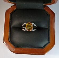 14k White Gold 6.40ctw Natural Oval Yellow Sapphire & SI1 White Diamond Ring