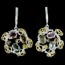 NATURAL MULTI COLOR TOURMALINE OVAL & ROUND STERLING 925 SILVER 3-TONE EARRING