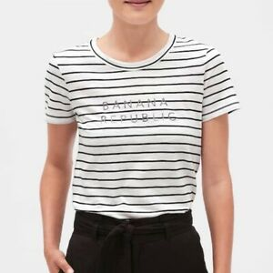 BNEW BNEW Banana Republic Striped Logo T-Shirt, White/blk, Medium